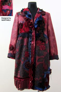 XL Shabby chic art to wear duster jacket,Upcycled clothing for women,Boho hippie embroidered tapestry coat,Mori girl romantic red coat Clothing Redo, Redo Clothes, Upcycled Clothing, Shabby Chic Art, Duster Jacket, Altered Couture, Hippie Outfits, Mori Girl, Boho Hippie