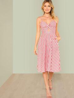 91f536a2dafb Twist Front Cutout Knot Back Striped Cami Dress -SHEIN(SHEINSIDE) Summer  Dresses