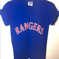 Majestic Rangers T-shirt Officially licensed majestic athletic t shirt . Youth large so fits like a medium for women's . Short sleeve with screen print graphics . Two buttons at the neck . Tops Tees - Short Sleeve