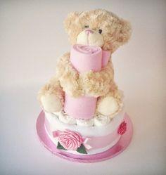 Bobby Bear Nappy Cake: Large Flower Tier FP