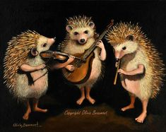 Olivia Beaumont Art And Illustration, Hedgehog Illustration, Hedgehog Art, Cute Funny Animals, Cute Baby Animals, Cello, Animal Sketches, Whimsical Art, Animals Beautiful