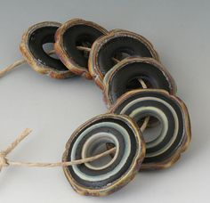Rustic Squared  6 Handmade Lampwork Beads  Tumble by outwest, $22.00