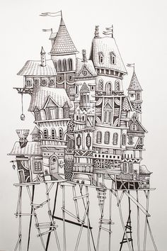 Home by Eren Dedeleroglu, via Behance. This reminds me of Series of Unfortunate Events.