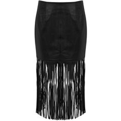 Miss Selfridge Fringed Leather Skirt ($59) ❤ liked on Polyvore featuring skirts, black, miss selfridge, below the knee skirts, fringe skirts, knee length leather skirt and below knee skirts