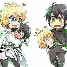 Hahaha so cute YuuMika MikaYuu Both Mikas are so happy I'm gonna cry Nezumi No 6, Yukine Noragami, Mikaela Hyakuya, Seraph Of The End, Owari No Seraph, Diabolik Lovers, Yuu, Bungou Stray Dogs, Me Me Me Anime