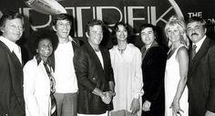With DeForest Kelley, Nichelle Nichols, Leonard Nimoy, Persis Khambatta, Walter… Star Trek Enterprise, Star Trek Voyager, Leonard Nimoy, William Shatner, Star Wars, Star Trek Tos, Star Trek Wedding, Star Trek Crew, Spock And Kirk