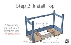Free and easy DIY plans for how to build a flip top vanity with a hinged top. This great looking DIY vanity is functional and easily conceals all the mess. Diy Makeup Vanity Plans, Diy Makeup Vanity Table, Vanity Desk, Woodworking Projects Diy, Wood Projects, Picnic Table Plans, Pocket Hole, Bedroom Storage, Diy Table