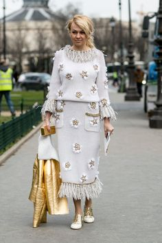 Embellished Chanel dress and gold shearling. Paris
