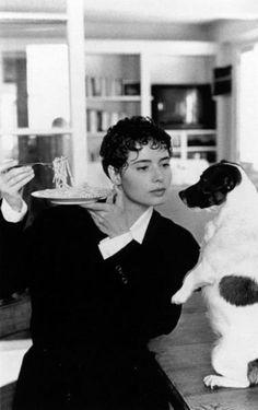 Isabella Rossellini (daughter of Ingrid Bergman) and her terrier.