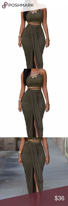 Olive Faux Suede Two Piece Maxi Skirt Set Designed with delicate draping pleats and a modern cut, this two piece skirt set makes a flawless dinner-to-party transition.  A sleeveless crop top looks simple but chic with thin strings which go around your waistline. And the matching maxi skirt features a draped, split front look, making an instant statement!  60833-2 Dresses Maxi