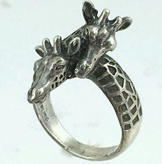 Giraffe Ring Sterling Silber S Yourgreatfinds Vintage Jewelry 1 Ring Freund Giraffe Ring, Giraffe Jewelry, Animal Jewelry, Giraffe Nails, Cute Jewelry, Modern Jewelry, Jewelry Gifts, Jewelery, Giraffe Decor