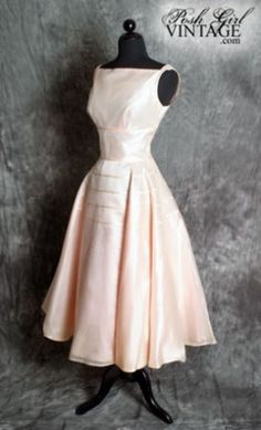 1950's Soft Peachy Pink Organza Tea Length Dress 1950's vintage dresses prom formal party :