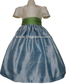Silk Flower Girl Dresses by Pegeen.com 398 in Caribbean Blue and Vine Green