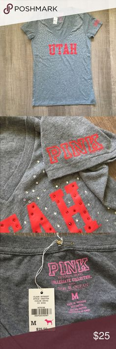 PINK Utah Tshirt Size medium   PINK Utah rhinestone tshirt  NWT - retail $39.50 PINK Victoria's Secret Tops Tees - Short Sleeve