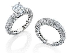 Gregorio 18k White Gold and 4.35CT Diamond Engagement Set