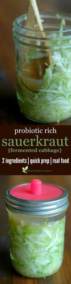 Probiotic Rich Sauerkraut {Fermented Cabbage} :: 2 Ingredients, Quick Prep, Real Food!: