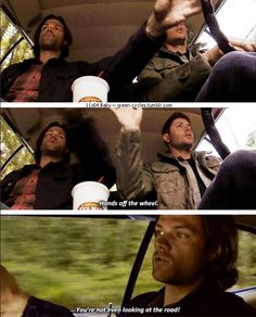 "11x04 Baby [gifset[ - ""Hands off the wheel.""  ""You're not even looking at the road!"" - Sam and Dean Winchester; Supernatural"
