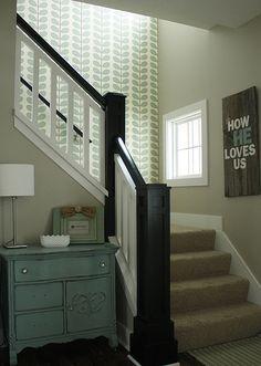 Orla Kiely wallpaper in stairway, painted dresser, and coordinating rustic wood sign, duck egg blue. Nice stairway