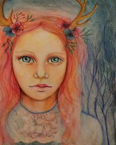 """""""She's ended up with antlers on her head and needs a name.  Suggestions!  #mixedmedia #portrait #fairytale #fawngirl"""""""