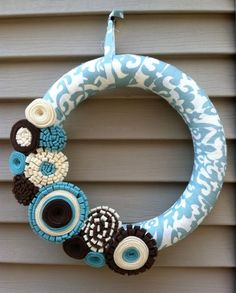 Winter  Wreath - Modern Wreath Wrapped in Blue & Cream Patterned fabric with Felt Flowers. Beach Wreath - Felt Flower Wreath - Spring Wreath on Etsy, $42.00