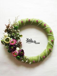 My florist work - Gneer flower wreath #knitmade #knitmadeflowers #wreath #green #flower