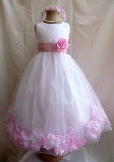 Flower Girl Dress WHITE/ Pink