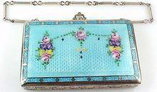 vintage guilloche enamel compact purse