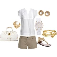 White & Khaki with a little Gold...go to outfit for summer...ZOO with the kids
