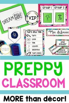Pink, blue, and green with preppy whales and paisley! This classroom set is so much more than decor - there are learning tools and functional visuals to support all students. Perfect for the classroom and resource room! From Positively Learning #preppyclassroom #preppywhales