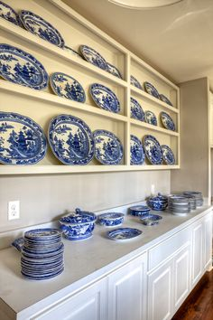 Like my dream kitchen... display area for all of my Oma's Delft china. Right now I have to keep it in storage
