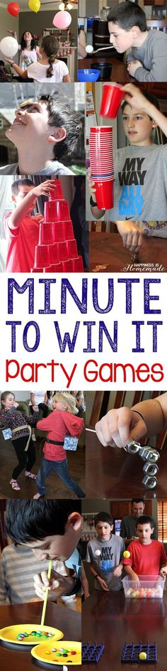 Minute to Win It Outdoor Summer Party Games - These fun (and funny!) Minute to Win It Games are perfect for your next outdoor summer block party, bbq, family reunion, or backyard bash! Great for all ages! - Happiness is Homemade School Parties, Slumber Parties, Birthday Parties, Diy Birthday, Kids Birthday Party Games, Indoor Birthday Games, 13th Birthday Party Ideas For Girls, Superhero Party Games, Birthday Boys