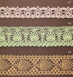 Crochet: Edging ~ tons of pineapple edging.free diagrams § bordi e entre-deux § Crochet Boarders, Crochet Lace Edging, Crochet Diy, Manta Crochet, Crochet Diagram, Crochet Chart, Thread Crochet, Love Crochet, Irish Crochet
