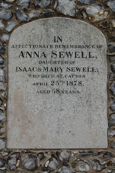 Anna Sewell's grave.  / Share while teaching BLACK BEAUTY by Anna Sewell, the LitWits way! / To get unique hands-on literature activities, teaching ideas, and DIY LitWits Kits, visit http://www.litwitsworkshops.com/free-resources/