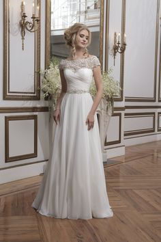Justin Alexander 8799 (Perth) Beaded embroidery and chiffon ball gown with a portrait neckline