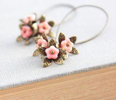 Long Earrings Dangle Earrings Pink Peach Flower by apocketofposies