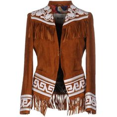 Bazar Deluxe Jacket ($450) ❤ liked on Polyvore featuring outerwear, jackets, camel, single breasted jacket, camel leather jacket, brown leather jacket, long sleeve jacket and fringe jackets