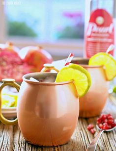 Pomegranate Moscow Mule. The perfect Winter Cocktail! Be holiday ready with this delicious drink!  Combine all vodka, juices, and ginger beer and pour over ice. This makes two drinks. Use Moscow Mule Copper Cups for some added fun.Garnish with Pomegranate arils and lime wedges if desired.