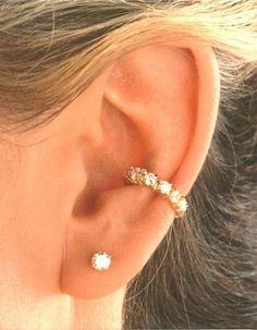 Cubic Zirconia 'Tennis Band' Gold Vermeil Ear Cuffs Earrings