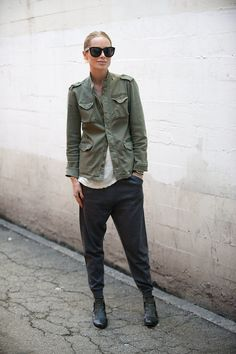 Anine Bing harem pants and army jacket. I want to wear this everyday.