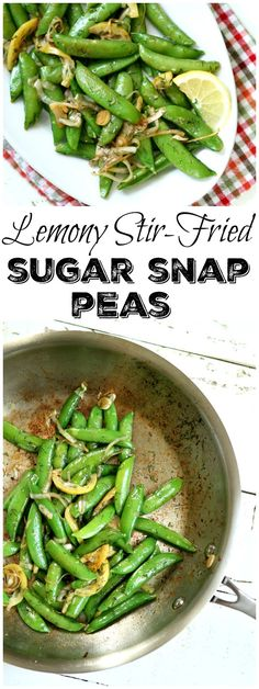 Easy recipe for Lemony Stir Fried Sugar Snap Peas- great side dish recipe to grilled meats and fish. Pea Recipes, Side Dish Recipes, Vegetable Recipes, Dinner Recipes, Healthy Eating Recipes, Cooking Recipes, Snap Peas Recipe, Sugar Snap Peas, Vegetable Side Dishes