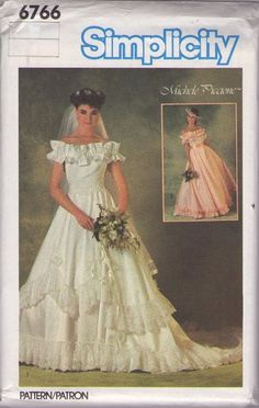 MOMSPatterns Vintage Sewing Patterns - Simplicity 6766 Vintage 80's Sewing Pattern FANCIFUL Designer Michele Piccione Ruffled Off the Shoulder Galloon Lace Trim Wedding Dress, Formal Bridal Gown Size 8