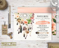 Boho Chic Watercolor Dream Catcher, Floral Baby Shower, Bridal Shower, Birthday Party Invitation (Peach, Pink, Feathers, Roses) DIGITAL FILE