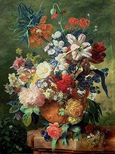 Jan van Huysum - Still Life of Flowers and a Bird's Nest on a Pedestal - Kunstreproduktionen