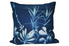 Botanical Blueprint Cushion on Stone Linen, Square