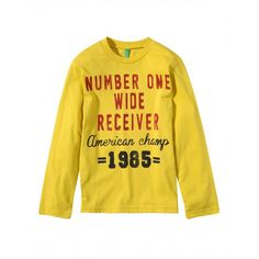 T-shirt manica lunga, in jersey di cotone con stampa frontale, girocollo a costina.3U1LC1134 YELLOW