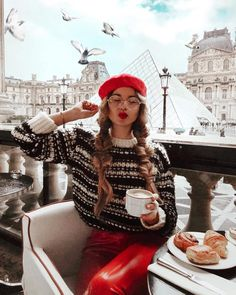 black and white knit sweater with red leather pants and beret. Visit Daily Dress Me at dailydressme. Paris Outfits, Mode Outfits, Winter Outfits, Fashion Outfits, Dress Fashion, School Outfits, Womens Fashion, Trendy Fashion, France Outfits