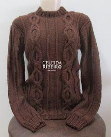 Maravilhosa Blusa de tricot a mão, criada por mim com a ajuda da trança que está na revista logo abaixo. 5 novelos do Fio Lírio da Círcul...