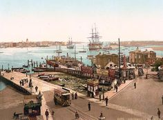 Harbour, Portsmouth, England - This colour photochrome print was taken between 1890 and 1900 in Portsmouth, England