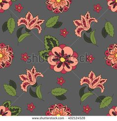 Gray Seamless pattern with spring flowers. Cover, background. Red and green colors #bubushonok #art #bubushonokart #design #vector #shutterstock #pattern #fabric #seamless #doodle #ornament