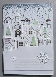 Love the addition of the soft green Christmas Flyer, Christmas Card Crafts, Christmas Hearts, Homemade Christmas Cards, Stampin Up Christmas, Xmas Cards, Christmas 2017, Karten Diy, Homemade Greeting Cards